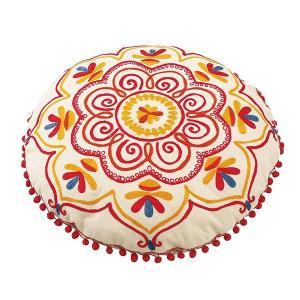 MAHAL(マハール) クッション 径40cm NO.7629-01・ホワイト カラフルなポンポンレースが可愛い、ラウンドクッション♪|profit