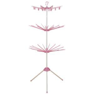 室内物干しスタンド3段 ピンク|profit