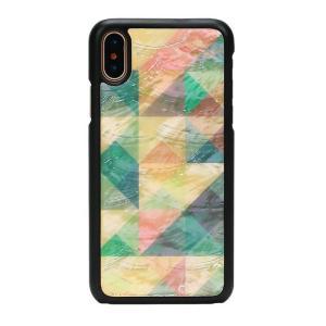 ikins iPhoneX 天然貝ケース Mosaic ブラックフレーム|profit
