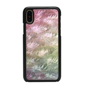 ikins iPhoneX 天然貝ケース Water flower ブラックフレーム|profit