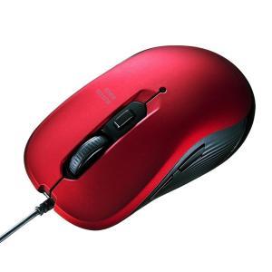 サンワサプライ 有線ブルーLEDマウス レッド MA-BL114R 対称形で使いやすい、多機能な有線マウス!|profit