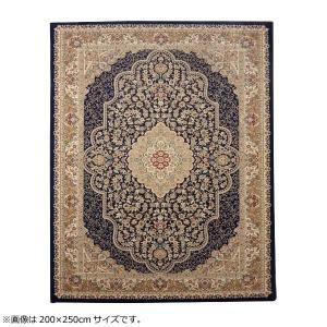 トルコ製 ウィルトン織カーペット 『ベルミラ RUG』 ネイビー 約80×140cm 2330609 なめらかなタッチ感。|profit