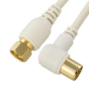 OHM TV接続ケーブル 2C 4K8K対応 F-L型 2m ANT-C2S2FL-W|profit