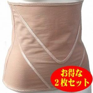 Vアップシェイパー ベージュ 2枚セット 腹筋 腹巻 ベルト ヒロミ監修簡単エクササイズ付き ビートップス|profit