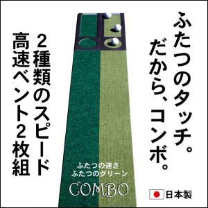パターマット工房 15cm×3m×2枚組 COMBOパターマット 距離感マスターカップ2枚付き 日本製 パット 練習|progolf