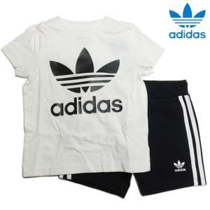 アディダス オリジナルス トレフォイル 半袖Tシャツ&ショーツ ブラックホワイト 上下セット キッズ adidas ED7726 progres