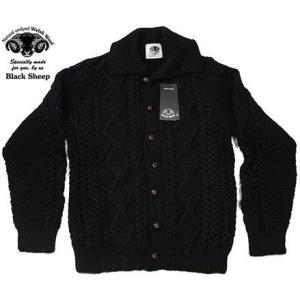 BLACK SHEEP ブラックシープ SA-24 アラン ニット 編み襟付き カーディガン ブラック|progres
