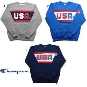 チャンピオン クルーネック スウェット シャツ USAロゴ C3-G026|progres