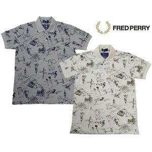 FRED PERRY フレッドペリー ポロシャツ 半袖 メンズ 総柄 プリント ポロシャツ F1406 ロンドン|progres