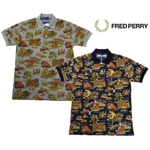 FRED PERRY フレッドペリー ポロシャツ 半袖 メンズ 総柄 プリント ポロシャツ F1407 ワーク|progres