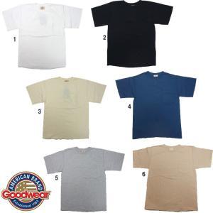 Goodwear グッドウェア クルーネック ポケットTシャツ USA製 レギュラーフィット 無地 ポケT メンズ|progres