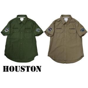 HOUSTON ヒューストン  MILITARY S/S SHIRTS ミリタリー半袖シャツ ワッペン progres