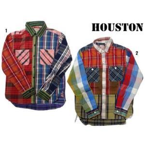 HOUSTON ヒューストン チェックシャツ メンズ チェックシャツ ネルシャツ ワークシャツ クレイジー 長袖シャツ progres