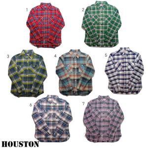 HOUSTON ヒューストン チェックシャツ メンズ チェックシャツ ネルシャツ ワークシャツ 長袖シャツ 40120 progres