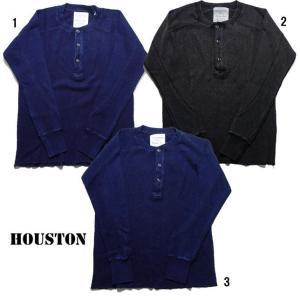 HOUSTON ヒューストン インディゴ サーマル ヘンリーネック 長袖 Tシャツ メンズ サーマル ロンT 21136 progres