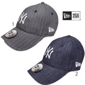 ニューエラ メンズ キャップ 9THIRTY Leather Strap ヘリンボーンデニム ニューヨーク ヤンキース Newera CAP|progres