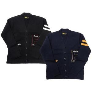 ラッセルアスレティック レタード カーデ ニット セーター メンズ カーデ ワッペン V/N|progres