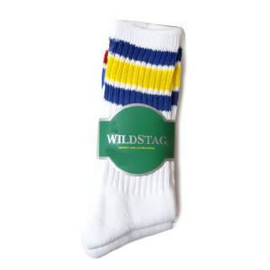 WILD STAG ワイルドスタッグ 3P ソックス ライン ロングソックス ホワイト 靴下 2270|progres