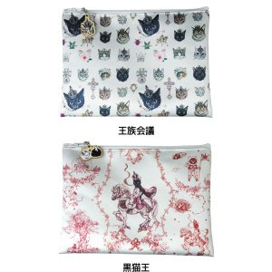 Gizelle HEART チャーム付きフラットポーチ 王族会議/黒猫王|project1-6