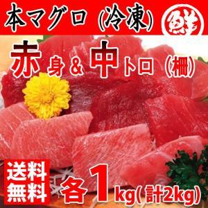 【送料無料】冷凍 養殖・本マグロ 中トロ&赤身 各1kg(柵どり)|promart-jp