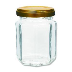 ジャム瓶 MS-140 ST 八角瓶 蓋ゴールド|propack-kappa1