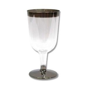 使い捨て プラスチック製 おしゃれなワインカップ シルバー C-011 6個|propack-kappa1