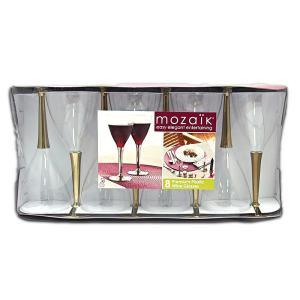 プラスチック ワイングラス 使い捨て mozaik(モザイク)  ゴールド 8個入り|propack-kappa1