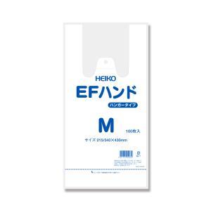 レジ袋 ビニール袋 手提げ 安い HEIKO EFハンド 白無地 M 100枚|propack-kappa1