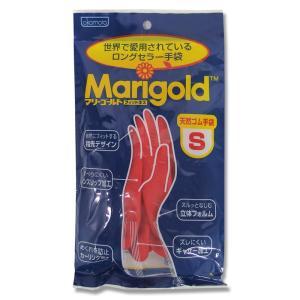 オカモト 天然ゴム手袋 マリーゴールド フィットネス 中厚手 レッド Sサイズ