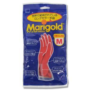 オカモト 天然ゴム手袋 マリーゴールド フィットネス 中厚手 レッド Mサイズ