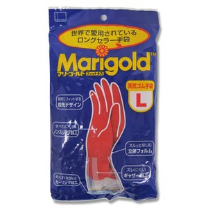 オカモト 天然ゴム手袋 マリーゴールド フィットネス 中厚手 レッド Lサイズ