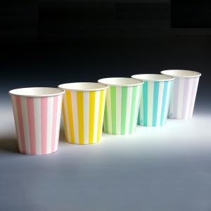 紙コップ 7オンス 柄入 業務用ストライプカップ 容量205ml 100個|propack-kappa1
