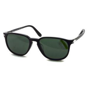 Persol ペルソール  3019SA アジアンフィット 95/58 ブラック-ダークグリーンガラス偏光レンズ ウェリントンサングラスイタリア製 国内正規品|props-tokyo