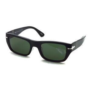 Persol ペルソール  3268S アジアンフィット 95/31 ブラック-ダークグリーンガラスレンズ スクエアサングラス イタリア製 国内正規品|props-tokyo