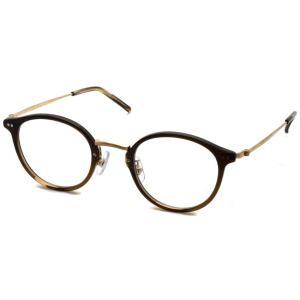 STEADY ステディ STD-49 カラー:6 Brown Half - Shirring Gold  ブラウンハーフ - シャーリングゴールド メガネフレーム|props-tokyo