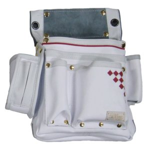 KOZUCHI(コヅチ) 本革 別注仮枠釘袋 「白いやつ」 サイドポケット付 ≪大工職人仕様≫ SH-514(白) proshop-asahi