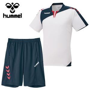 ジュニア  ヒュンメル(hummel) サッカー フットサル 半袖プラクティスウェア上下セット プリアモーレスーツ (HJP1130SP-10)2017SS proshop-bd