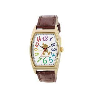 SUNFLAME Disney ディズニー 腕時計 レディース メンズ 男女兼用 ミッキー 本皮ベルト レインボー 《ギフト用専用化粧箱付》 [WD-D04-MK] (/Q) proshopdate15