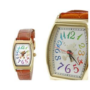 SUNFLAME Disney ディズニー 腕時計 レディース 女性用 ミッキー 本皮ベルト レインボー 《ギフト用専用化粧箱付》 [WD-D05-MK] (/Q) proshopdate15
