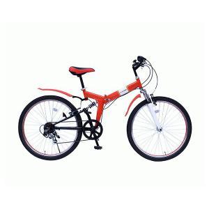 FIELD CHAMP WサスFD-MTB266SE フィールドチャンプ 26インチ折畳MTBルック車 6段ギア レッド [MG-FCP266E] (/AC)|proshopdate15