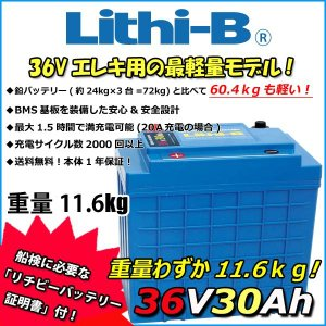 リチビー(Lithi-B)  36v バッテリー 30Ah (LifePO4 リチウムバッテリー) 【送料無料】|proshopks
