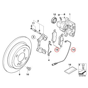 Brembo製 BMW MINI ミニ R50 R53 R52 リヤ/リア用 ブレーキパッド/ディスクパッド 左右セット センサー付 34216762871 34356761448 Cooper One 1.6i CooperS|protechauto|02