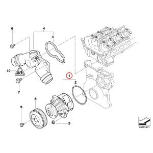 [6ヶ月保証] GRAF製 BMW 5シリーズ E34 ウォーターポンプ M50 M52 M54 直6エンジン Oリング付き 11517527910 11517509985 11517527799 PA432A 520i 525i protechauto 02
