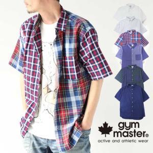 ジムマスター 半袖シャツ メンズ トップス gym master 2WAY ショールカラー ショートスリーブ シャツ G499630 半袖 柄 チェック|protocol