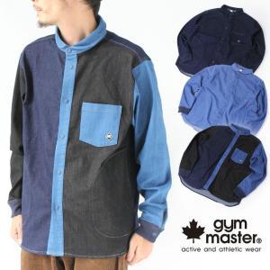 シャツジャケット デニム メンズ ジムマスター 長袖 gym master ストレッチデニム G533668 キャンプ アウトドア|protocol
