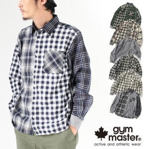 ジムマスター 長袖 シャツ メンズ gym master 2WAY スナップボタン 2WAY チェックシャツ G557644 ネルシャツ メンズ ロンT 長袖|protocol