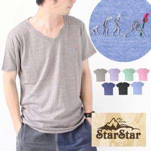 StarStar スタースター ROCK進化論 刺繍 Vネック Tシャツ メンズ LA0653 春 夏 春夏|protocol