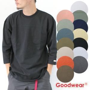 グッドウェア tシャツ メンズ Goodwear USAコットン 切替 7分袖 FOOTBALL TEE W7-2509 メンズ 7分袖 USAコットン 春 夏 無地 定番 大きいサイズ|protocol