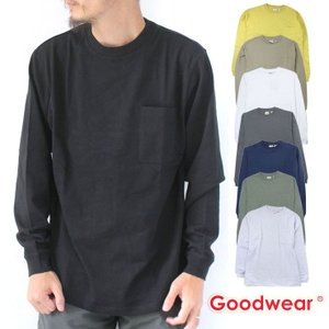 グッドウェア ロンT 白 GOODWEAR 裾リブ ポケット ロング TEEシャツ ロンTEE 78518|protocol