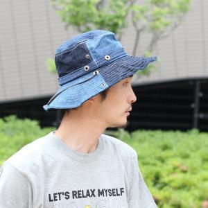キャンプ 帽子 レディース メンズ  サファリハット ひも付き UV フェス 帽子 デニム アウトドア 大きい フェス 送料無料|protocol|05
